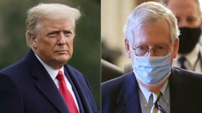 El presidente Donald Trump, a la izquierda, en una fotografía de archivo, y el líder de la mayoría del Senado, Mitch McConnell (R-Ky.), en Washington. (Getty Images).