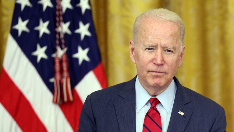El presidente, Joe Biden, pronuncia un discurso sobre el acuerdo bipartidista del Senado en materia de infraestructura en la Casa Blanca, en Washington, el 24 de junio de 2021. (Kevin Dietsch/Getty Images)