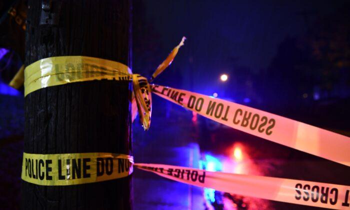 Cinta policial en el barrio de Squirrel Hill, en Pittsburgh, el 27 de octubre de 2018. (Brendan Smialowski/AFP vía Getty Images)