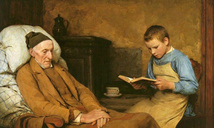 """""""Leyendo oraciones al abuelo"""", 1893, por Albert Anker. Óleo sobre lienzo; 24 3/4 pulgadas por 36 pulgadas. Museo de Bellas Artes de Berna. (Dominio público)"""