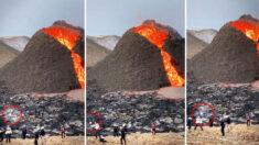 Sorprenden a jugadores profesionales de voleibol  jugando frente a un volcán en erupción en Islandia