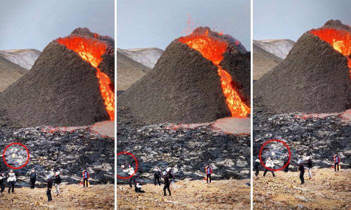 Jugadores profesionales de voleibol son sorprendidos jugando frente a un volcán en erupción en Islandia