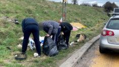 Policía identifica a 3 personas que arrojaron basura y los escolta 5 millas para que la recojan