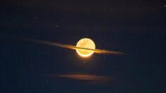 """Fotógrafo capta una impresionante imagen de la """"Luna vestida de Saturno"""""""
