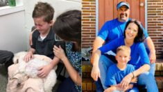 Niño adoptado sostiene a su perro en sus últimos momentos de vida y da gran lección a su familia
