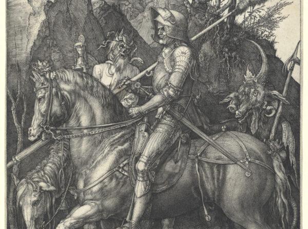 """Un detalle de """"El caballero, la muerte y el diablo"""", en el que se ve claramente que el caballero está tranquilo a pesar de las amenazas de sus compañeros de viaje. Museo Metropolitano de Arte, Nueva York. (Dominio público)"""