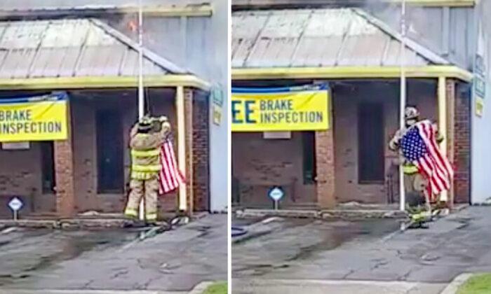 Bombero logra salvar la bandera de EE.UU. a punto de quemarse durante un incendio