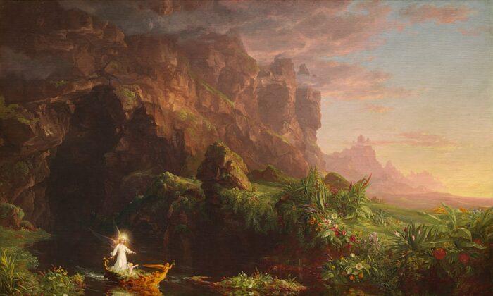 """""""El viaje de la vida: Infancia"""", 1842, de Thomas Cole. Óleo sobre lienzo; 52.8 pulgadas por 76.8 pulgadas. Galería Nacional de Arte, Washington. (Dominio público)"""