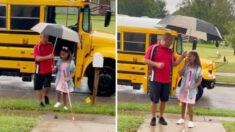 Amable conductor de autobús ayuda a niña con discapacidad visual que regresa al colegio