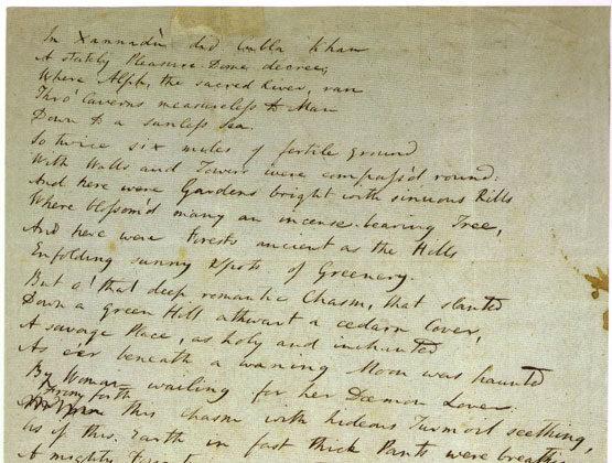 Borrador escrito entre 1797 y 1818 del poema Kubla Khan de Samuel Taylor Coleridge, escrito de puño y letra del poeta. (Dominio público)