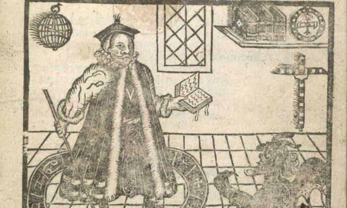 """Ilustración xilográfica del """"Doctor Fausto"""" y un diablo de la portada de una edición de 1620 de """"La trágica historia del Doctor Fausto"""" de Christopher Marlowe. (Dominio público)"""