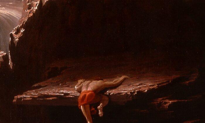 Es evidente que el héroe está agotado al subir a un saliente, pero la fe duradera le impulsa. (PD-US)