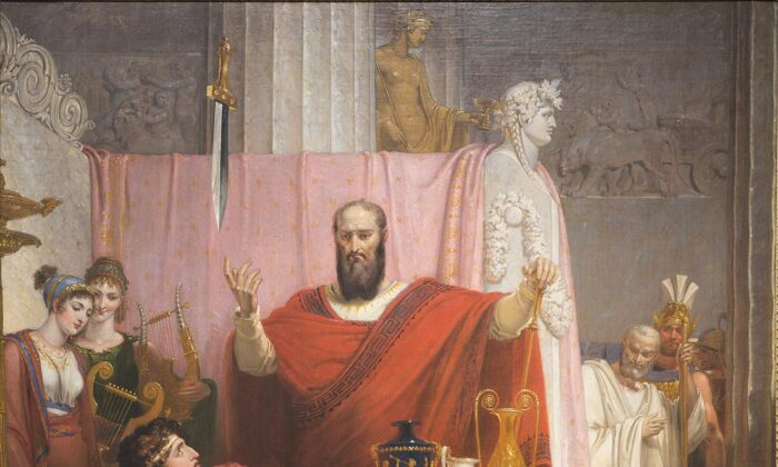 """Un detalle de """"La espada de Damocles"""", 1812, de Richard Westall. Óleo sobre lienzo, 51 3/16 pulgadas por 40 9/16 pulgadas. Museo de Arte Ackland, Carolina del Norte. (PD-US)"""