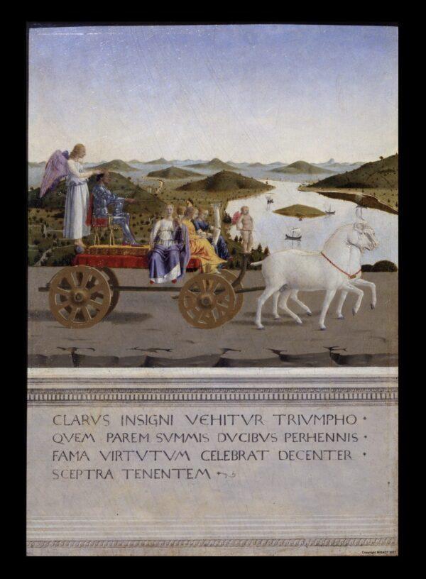 """El panel de la izquierda que representa a Federico da Montefeltro en """"Triunfos de Federico da Montefeltro y Battista Sforza"""", hacia 1473-1475, de Piero della Francesca. Óleo sobre madera; 19 pulgadas por 13 pulgadas por panel. Las galerías de los Uffizi. (PD-EE. UU.)"""