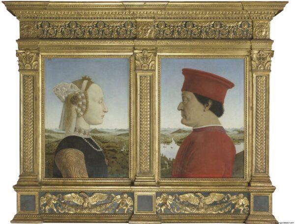 Retratos de Battista Sforza y Federico da Montefeltro, hacia 1473-1475 , por Piero della Francesca. Óleo sobre madera; 19 pulgadas por 13 pulgadas por panel. Galerías Uffizi. (Dominio publico)