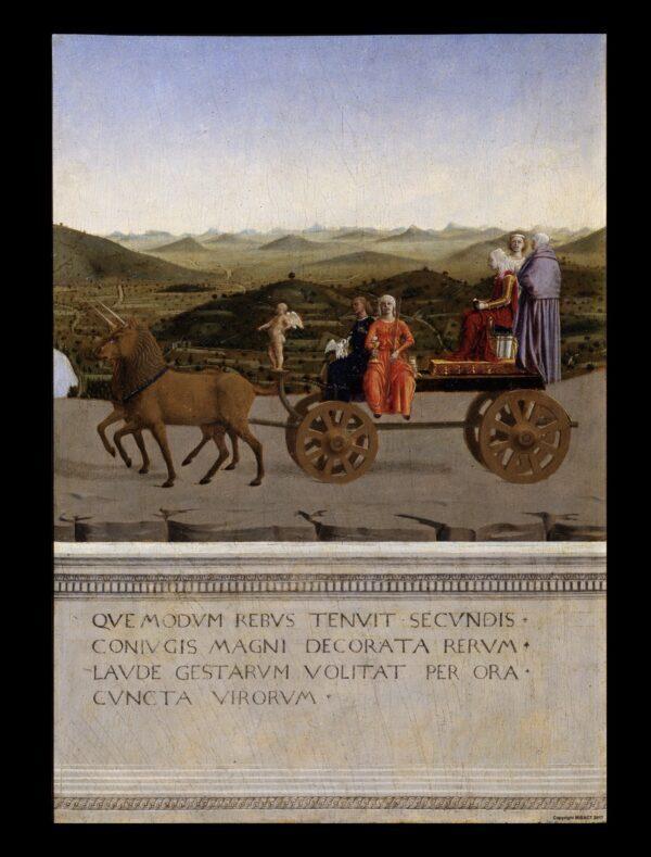 Una escena alegórica en honor a Battista Sforza en el reverso de su retrato. (Galerías Uffizi)