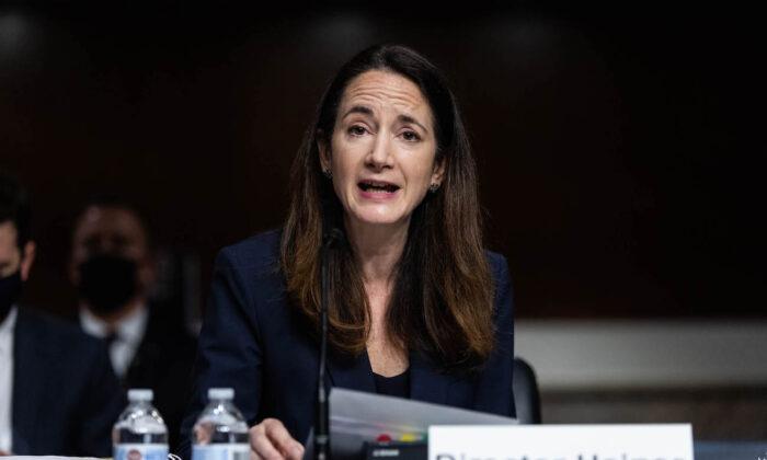 La Directora de Inteligencia Nacional, Avril Haines, testifica en el Capitolio, en Washington, el 29 de abril de 2021. (Graeme Jennings/Pool/Getty Images)