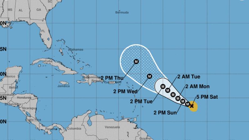 Imagen cedida el 25 de septiembre de 2021 por la Oficina Nacional de Administración Oceánica y Atmosférica de Estados Unidos (NOAA), a través del Centro Nacional de Huracanes (NHC), en la que se registró la localización del huracán Sam, a las 17.00 hora local (21.00 GMT). NOAA-NHC