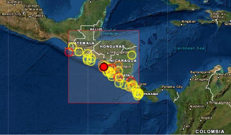 Sismos de magnitudes de entre 6.2 y 3.1 Richter sacuden Nicaragua sin daños