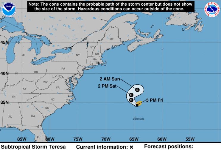 Se forma la tormenta subtropical Teresa mientras el huracán Sam gana potencia