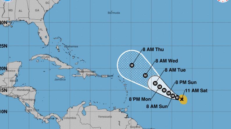 Imagen cedida el 25 de septiembre de 2021 por la Oficina Nacional de Administración Oceánica y Atmosférica de Estados Unidos (NOAA), a través del Centro Nacional de Huracanes (NHC), en la que se registró la localización del huracán Sam, a las 11.00 hora local (15.00 GMT). NOAA-NHC