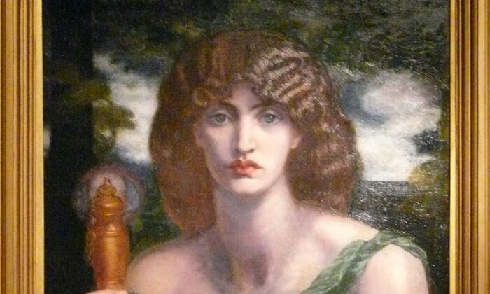 """Detalle de """"Mnemosyne"""" (también conocida como """"Lámpara de la memoria""""), 1881, de Dante Gabriel Rossetti. Óleo sobre lienzo; 49 3/4 pulgadas por 24 pulgadas. Samuel and Mary R. Bancroft Memorial, 1935, en el Museo de Arte de Delaware. (CC BY-SA 3.0)"""
