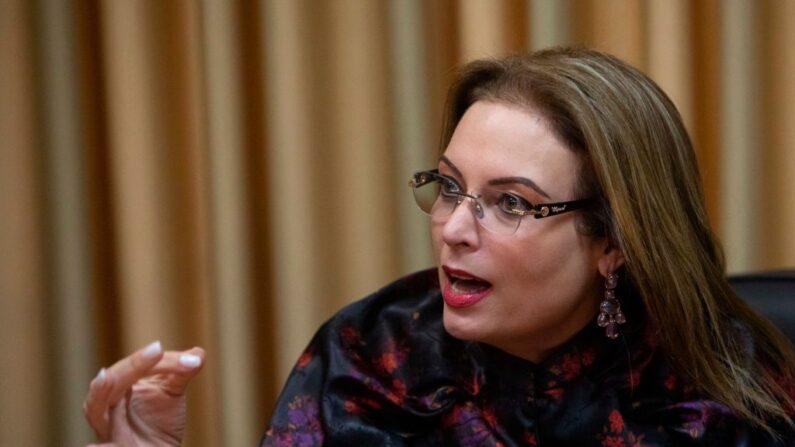 María Fernanda Flores de Alemán, esposa del ex presidente nicaragüense Arnoldo Alemán, habla en una conferencia de prensa en Managua (Nicaragua) el 10 de noviembre de 2020. (Inti Ocon/AFP vía Getty Images)
