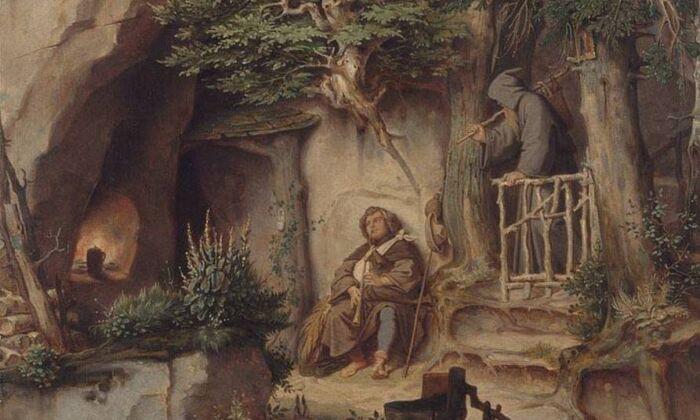 """Encontrando descanso en el arte: """"Un músico con un ermitaño"""" de Moritz von Schwind"""
