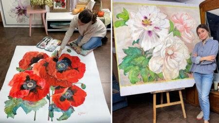 Artista pinta enormes flores en acuarela que cautivan al espectador