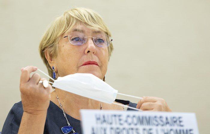 La Alta Comisionada de DD.HH. de la ONU, Michelle Bachelet pide que se levanten las sanciones sectoriales contra Venezuela, el 13 de septiembre de 2021. EFE/EPA/SALVATORE DI NOLFI