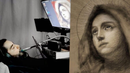 Artista de 29 años quedó paralizado, ¡ahora dibuja impresionantes obras de arte con la boca!