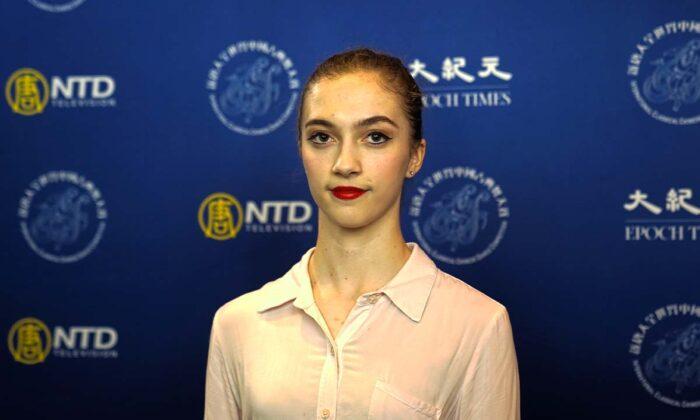 Lillian Parker participó en la división femenina junior del 9° Concurso Internacional de Danza Clásica China NTD, en el estado de Nueva York, el 4 de septiembre de 2021. (The Epoch Times)