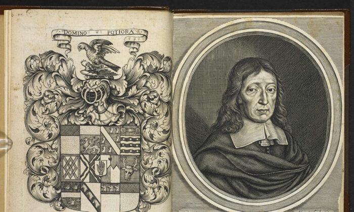 """Las primeras páginas de una edición de 1668 de """"El Paraíso Perdido"""", con una portada adaptada y un grabado posterior del autor de la obra, John Milton, realizado por William Faithorne. (Dominio público)"""