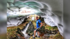 """Hombre encuentra """"increíble túnel de nieve"""" durante oleada de calor en Inglaterra"""