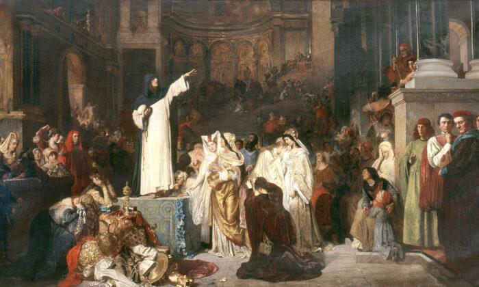 """""""Savonarola predicando contra la prodigalidad"""", en 1879 por Ludwig von Langenmantel. Universidad de San Buenaventura. (Dominio público)"""