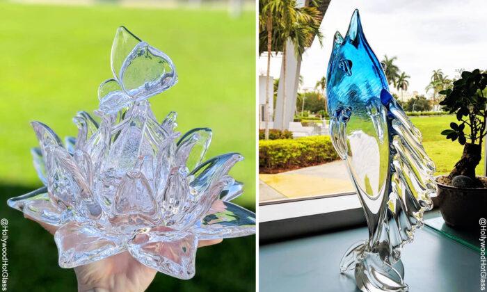 Artista de vidrio soplado convierte el vidrio fundido en flores de loto, colibríes y más