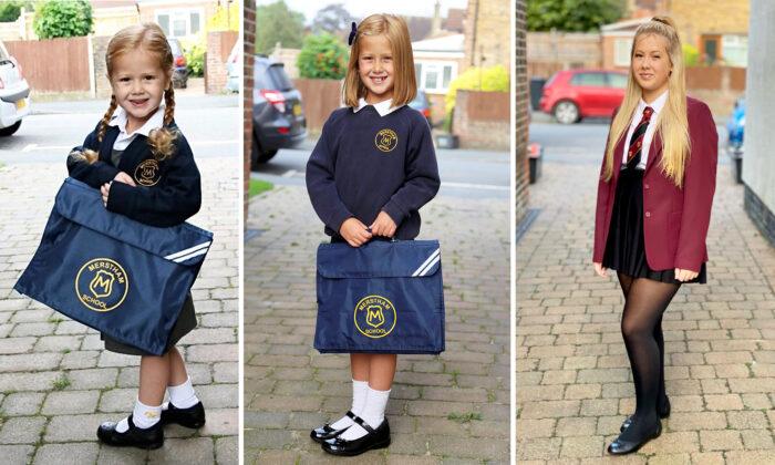 Una madre orgullosa toma fotos de su hija del primer día de clase desde hace 10 años