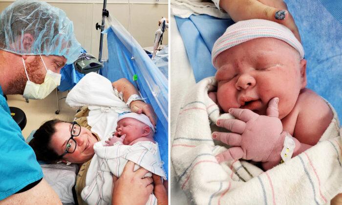 Mujer que sufrió 19 abortos espontáneos da a luz a un enorme bebé de 14.1 libras