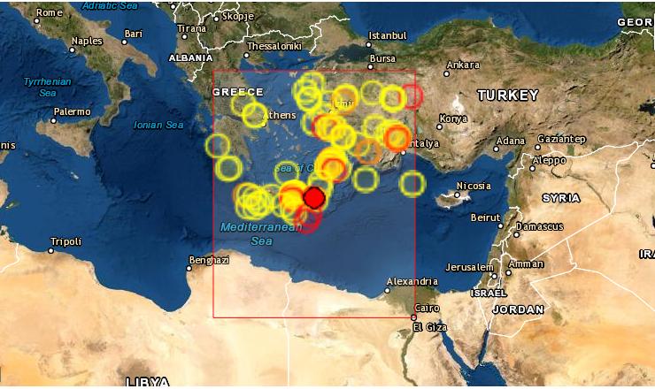Un fuerte terremoto de magnitud 6.3 en la escala Richter, el segundo de gravedad en dos semanas, sacudió este martes 12 de octubre de 2021 la parte oriental de la isla griega de Creta, la mayor del país. (Captura de pantalla/EMSC)