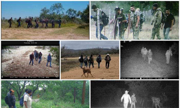 Fotos recientes de extranjeros ilegales proporcionadas por ganaderos en el condado de Kinney, Texas. (Cortesía de ganaderos)