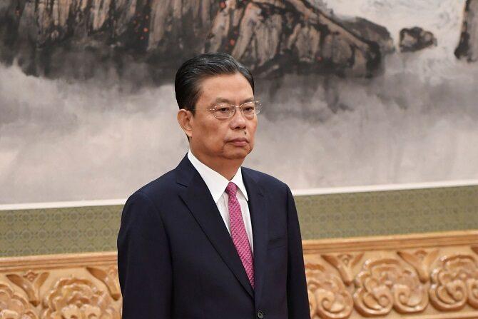 Zhao Leji, secretario de la Comisión Central de Inspección Disciplinaria (CCDI), en el Gran Salón del Pueblo de Beijing el 25 de octubre de 2017. (WANG ZHAO/AFP via Getty Images)