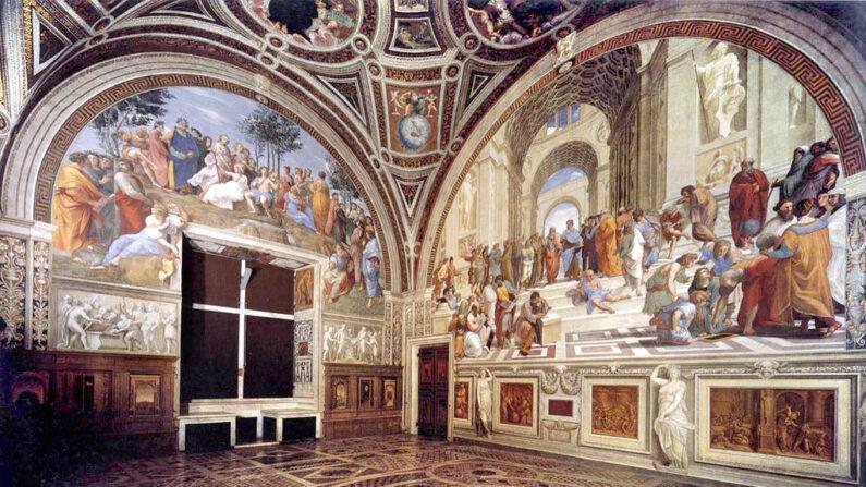 Vista de la Stanza della Segnatura, la sala del trono del Papa Julio II, con frescos de Rafael. (Dominio público)