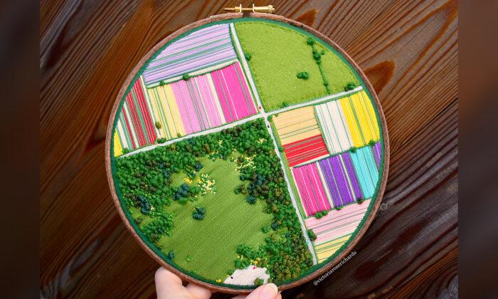 Artista autista crea bordados en 3D que parecen fotografías aéreas de Inglaterra