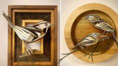 Artista convierte viejos cubiertos y chatarra en hermosas aves y otros increíbles animales