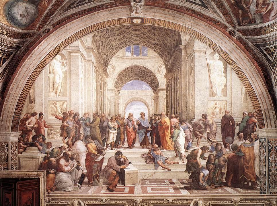 """""""La Escuela de Atenas"""". Fresco, 1509. Stanza della Segnatura, Palazzi Pontifici. Vaticano, Santa Sede, Estado de la Ciudad del Vaticano. (Dominio público)"""
