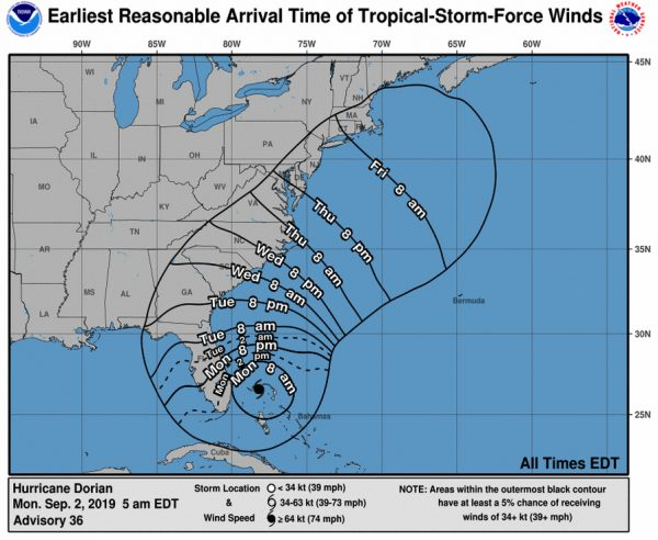 Os horários de chegada dos ventos de tempestades tropicais emitidos às 5 da manhã EDT, 2 de agosto (NHC)