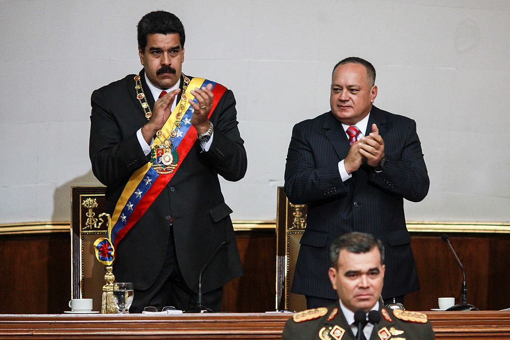 Nicolás Maduro e o presidente da assembléia constituinte do regime socialista, Diosdado Cabello (FEDERICO PARRA / AFP / Getty Images)