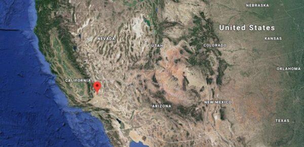 Localização do Lago Koehn, na Califórnia, localizado próximo à falha de Garlock (Google Maps)