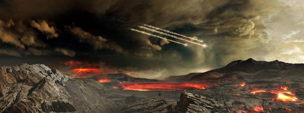 Conceito artístico de meteoritos que afetaram a Terra antiga (Centro de Vôo Espacial Goddard da NASA)