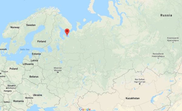 A explosão foi seguida por um pico de radiação de 40 minutos em Severodvinsk, perto da rua Nyonoksa (Google Maps)